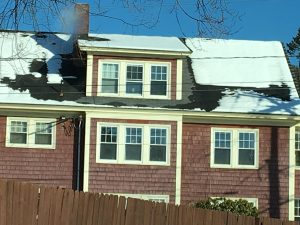 White makes right: Snow shows that the right side is better insulated than the left.